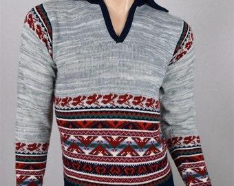 Vintage 1970's COLLAGEMAN ReTrO AzTeC Native SpAcE DyE STripeD Knit HiPPiE Sweater S
