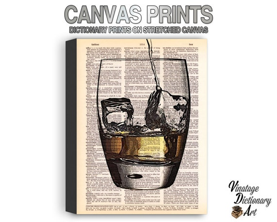 CANVAS Reproduction PRINTS - Any of Our Dictionary Designs Printed on Stretched Canvas with Gallery Wrapped Edges