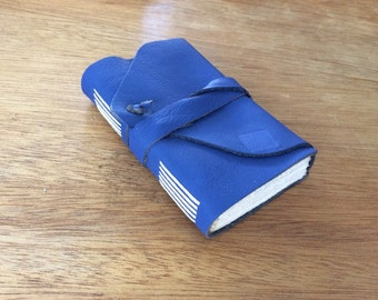 Electric Blue Leather Journal-Mini-Pocket-Handmade-Notebook