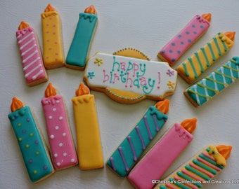 Birthday Candles and Message Plaque Decorated Sugar Cookies (#2551)