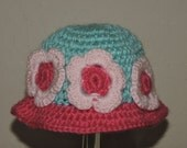 """Handmade Crocheted Newborn Baby Girls Hat With Pink Flowers Great Photo Prop or Gift approx 12.5"""""""
