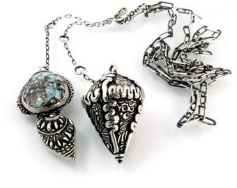 Sterling Silver, Pendulum, Pendulum Necklace, Bisbee, Turquoise, Turquoise Pendulum, Dowsing Pendulum, Shaman Pendulum, Divine, Shaman, 1086