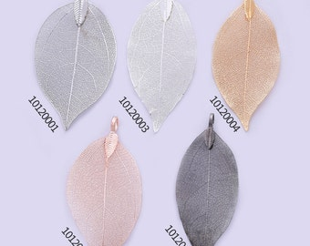 2 Plated Dipped Leaf 60-70MM Filigree Leaf Charm, Wedding Jewelry, bridesmaid gift, leaf pendant,Natural Leaf 101200