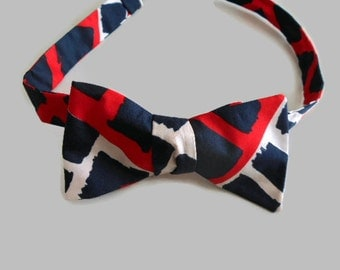 Self Tie Silk Bow Tie Navy Blue Red White Adjustable Recycled Scarf