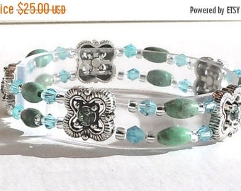 Clearance Sale Turquoise and Crystal Stretch Bracelet - Silver Filigree Squares with Swarovski Crystals - Turquoise Gemstones - Silver Seed