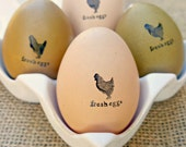 "Mini ""Fresh Eggs"" Ink Stamp for Eggs plus Mini Non-Toxic Ink Pad"