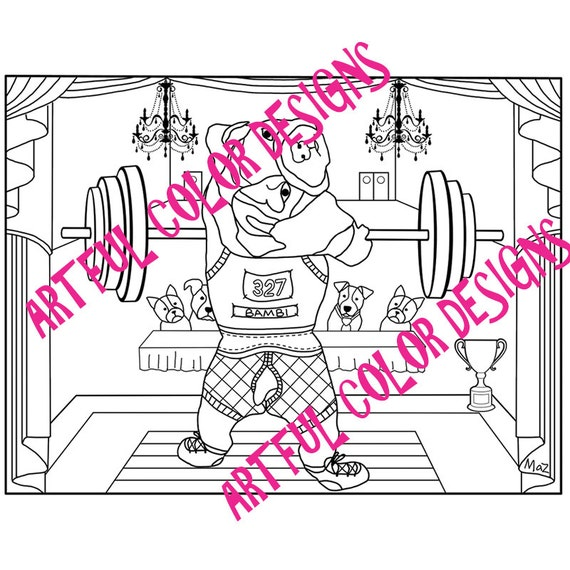 weightlifting coloring pages - dog coloring page of bulldog weightlifting printable download