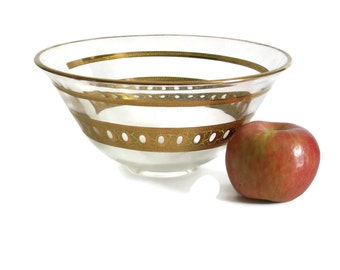 Culver Antigua Serving Bowl, Chip Bowl, Gold Encrusted, Hollywood Regency, Mid-Century