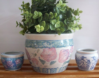 Trio of Asian Style Planters, Vintage Chinoiserie, Instant Collection, Flower Pots, Jardinieres, Blue and White Porcelain, Hollywood Regency