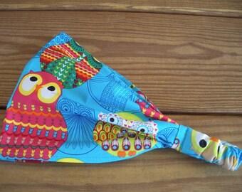 Girls Headband Fabric Headband Accessories Girl Headwrap Headscarf Summer Headband in Aqua blue with Multicolor Owls print