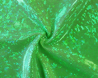 Shattered Glass Hologram Stretch Fabric by the yard - Neon Green