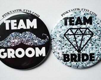 Team Bride, Team Groom Buttons, Mustache Wedding, Mustache Groom, Glitter Team Groom, Glitter wedding,  Bachelorette, Bachelor party