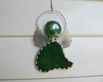 Emerald Green Water Glass - Stained Glass Angel Ornament/Suncatcher/Gift Tag