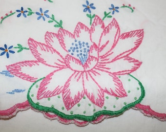 Vintage pillow cases with embroidered water lilies