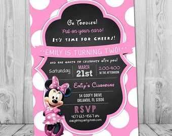 Minnie Mouse Invitation, Minnie Birthday Invitation, Printable Chalkboard Minnie Mouse Party Invite, 1st, 2nd, 3rd Girl Birthday Invites