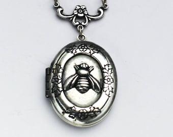 Personalized Locket Necklace - Silver Honeybee Locket - Silver Oval Bee Locket
