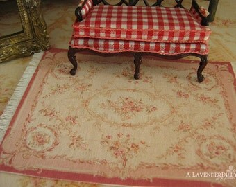 HALF SCALE Rose Pink Abusson Fringed Dollhouse Rug