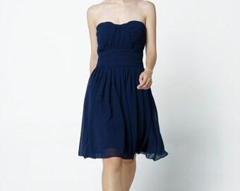 On Sale Size XXS Navy blue Wedding dress party dress bridesmaid dress Prom handmade knee length formal dress - NC638-1
