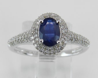 Diamond and Sapphire Ring Halo Engagement Ring Promise Ring 14K White Gold Blue Oval Size 7