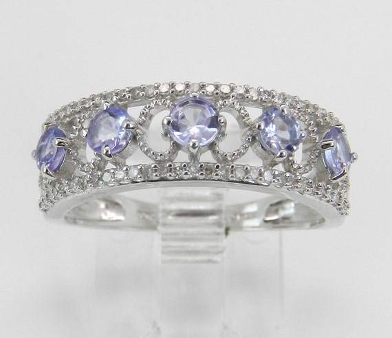 Diamond Tanzanite Wedding Ring Anniversary Band Stackable White Gold Size 7