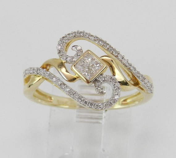 Diamond Ring Cluster Cocktail Ring Anniversary Band Yellow Gold Size 7