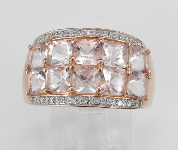 4.12 ct Diamond and Cushion-Cut Morganite Anniversary Ring Wedding Band 14K Rose Pink Gold Size 7.75