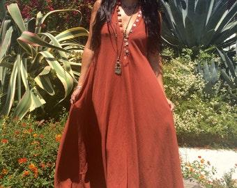 Gauze Cotton Dress// Cotton Caftan// Gauzy Summer Dress// Sleeveless Handmade Kaftan