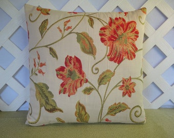 Floral Pillow Cover in Peach Red Orange Yellow Green Cream / Floral Pillow / Peach Green Pillow / 18 x 18 Pillow / Decorative Pillow