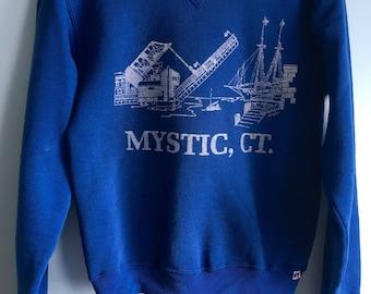 Vintage 80s Sweatshirt Blue Mystic, CT size xs