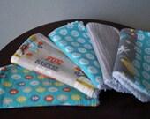 Baby Washcloths - Gender Neutral Baby - Barrel of Monkeys - Aqua, Orange, Gray - Neutral Baby Gift Idea