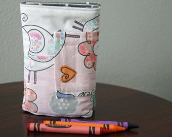 Crayon Wallet - Birds - Butterflies - Pink - Blue - Green - Crayon Holder - Crayon Roll - Easter Gift - Gift Under 20