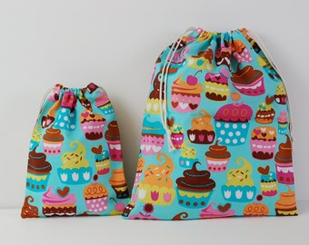 "Set of 2 Fabric Drawstring Bags (7x9"",11x14"") for Girls / Sweet Treats Turquoise"