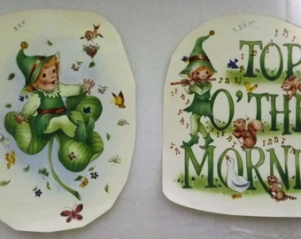 Cute Vintage Water Mount Decals - St. Patricks Day Shamrocks and Leprechauns - 2 Different Designs - Large Size