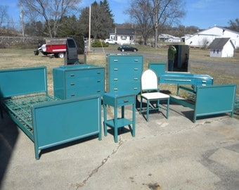 RARE 9 piece BEL GEDDES 1933 metal bedroom set dresser night stand bed mirrors vanity chair pick up only