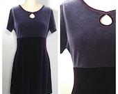 90s two tone velvet purple babydoll dress Large