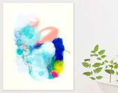 """Abstract Painting mint green decor with pink and blue original art in pastels, bold acrylic painting """"Small Talks 23"""" Duealberi"""