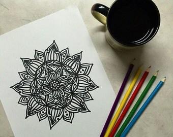 Coloring Book Mandala Coloring Page Instant Download Colouring Meditation Zen Illustration Adult Coloring Page Floral Mandala