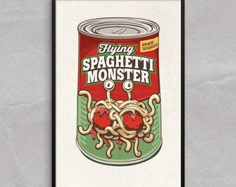 Flying Spaghetti Monster Poster or Framed Print, FSM RAmen Pastafarians