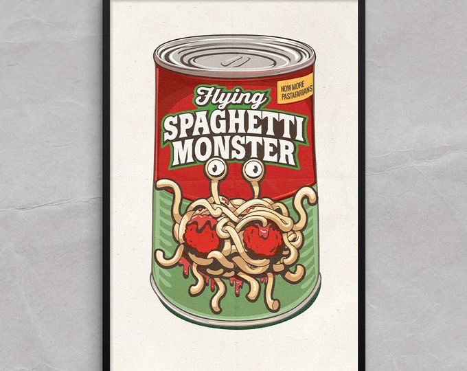 Flying Spaghetti Monster Poster or Framed Print, FSM RAmen Pastafarians