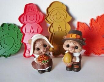 Hallmark Cards Thanksgiving Cookie Cutters and Pilgrim Chipmunk Salt & Pepper Shakers