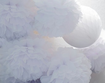 White 15 mixed sizes tissue paper Pom Poms set  - paper pompoms -very fluffy -wedding party  decorations