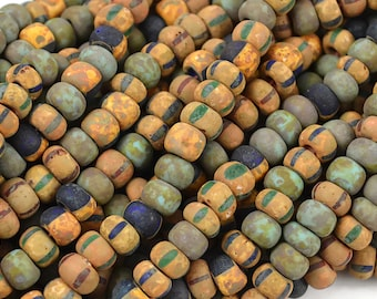 6mm Czech Aged Turquoise Picasso Blue Stripe Matte Mix - 2/0 Rustic Large Seed Beads - 20 Inch Strand