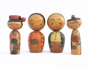 Japanese Kokeshi Dolls / Wooden Bobble Heads
