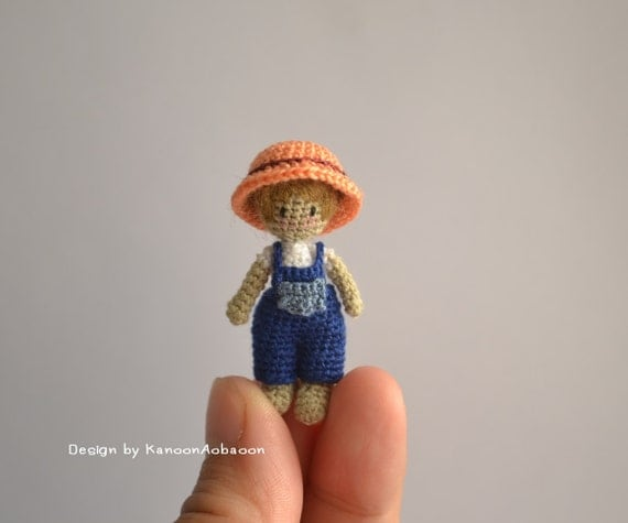 Farmer Boy Amigurumi Crochet Doll Miniature Doll Tiny