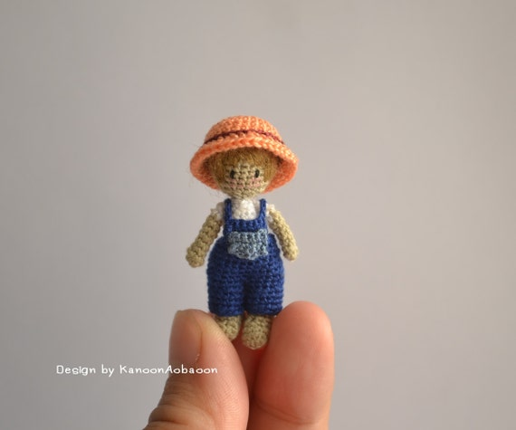 Amigurumi Mini Doll : Farmer boy amigurumi crochet doll miniature tiny
