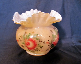 Fenton Vase with Hand Painted Roses and Ruffled Top Gold Guild Trim / Fenton Rose Overlay Hand Painted Vase