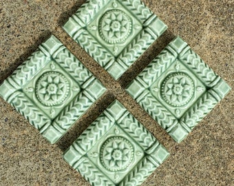 Ceramic Accent Tile --  IN STOCK Set of Four 2x2 ButterMold Accent tile in Green Tea Glaze