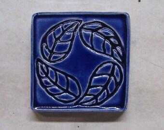 "Ceramic Accent Tile -- 1.5"" x 1.5"" Leaf Wreath Accent Tile, MADE TO ORDER, Custom Glazed"