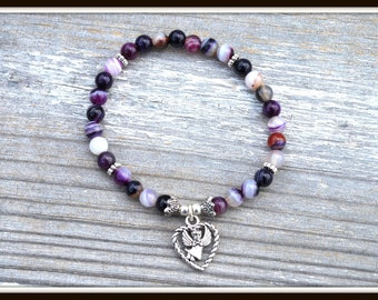 Women's Angel Bracelet, Purple Agate Bracelet, Purple Angel Bracelet, Purple Stripe Agate Bracelet, Angel Charm Bracelet, Heart and Angel