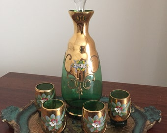 Exquisite Czech Bohemian Handpainted Decanter and Brandy Glasses